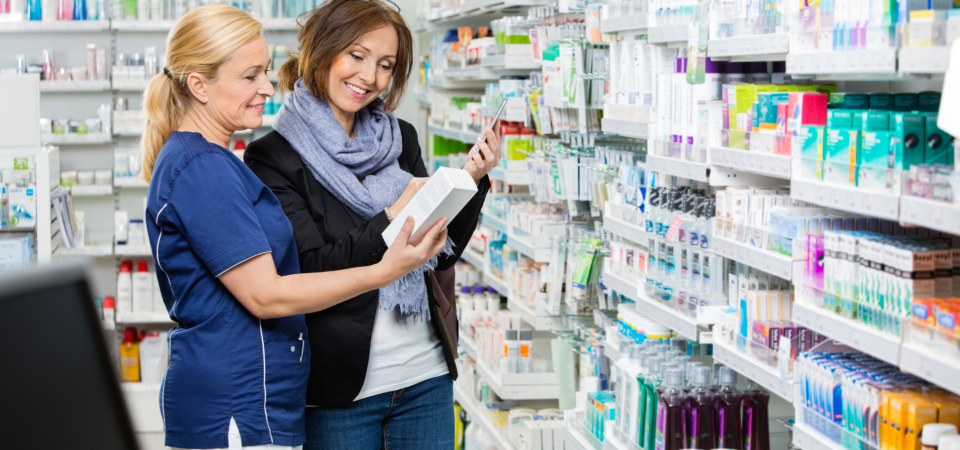 customer consulting to a pharmacist